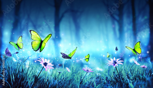 Poster Vlinder Fairy Butterflies In Mystic Forest