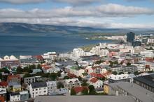 Blick Auf Reykjavik Und Die Faxafloi Bucht In Island