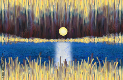Photo sur Toile Cappuccino Oil Painting. Fantastic abstract landscape with a lake and rising full moon. A shining night sky and a beach in the distance. Moon walk is on the water surface.Hard brush strokes texture.