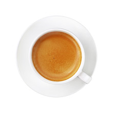 White Cup Of Espresso Coffee On Saucer Isolated