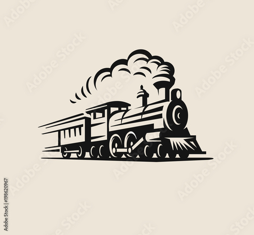 Retro train, vintage emblem Wallpaper Mural