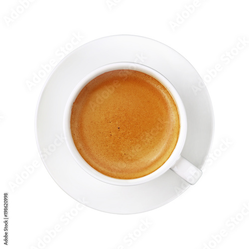 Photo  White cup of espresso coffee on saucer isolated