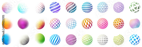 Obraz Set of minimalistic shapes. Halftone bright color spheres isolated on white background. Stylish emblems. Vector spheres with dots, stripes, triangles, hexagons for web designs. Simple signs collection - fototapety do salonu