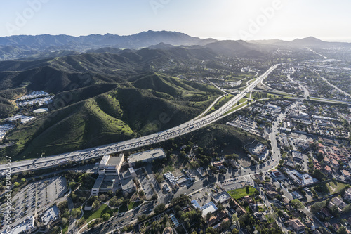 Aerial view of Ventura 101 freeway and suburban Thousand Oaks near Los Angeles, California Canvas Print