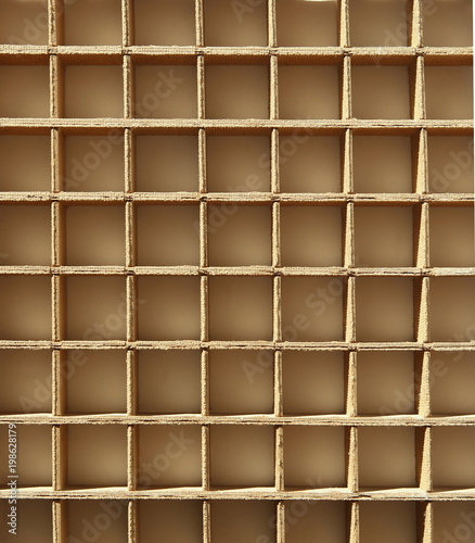 Poster Bibliotheque Grid from cardboard background. Wood lattice pattern.