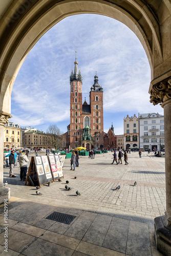 Deurstickers Krakau Markets with souvenirs in Krakow, Poland