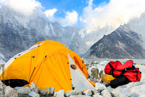 Trekking to Everest Base Camp in Nepal.. Canvas Print