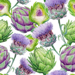 Fototapeta Watercolor seamless texture (pattern) of artichoke on white background