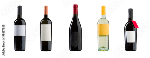 New wine bottles on white background