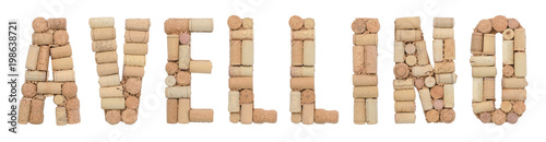 Italian province Avellino made of wine corks Isolated on white background Wallpaper Mural
