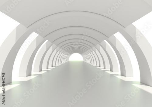 Bright white circular corridor or tunnel