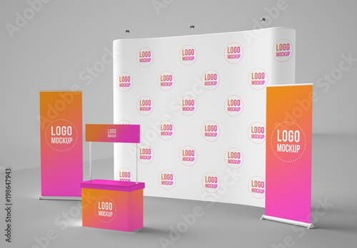 Exhibition Stall Mockup : Banners backdrop and kiosk mockup. buy this stock template and