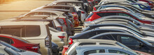 Parked Used Cars Stand On Stre...