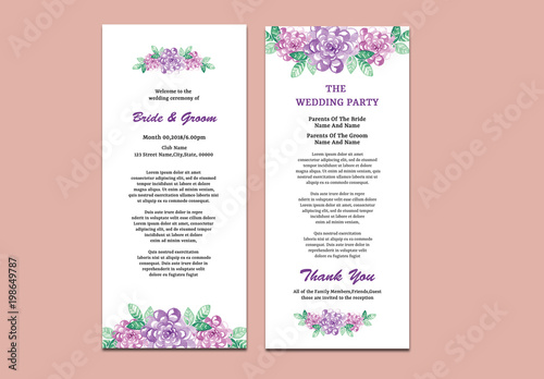 wedding program layout with purple flowers buy this stock template