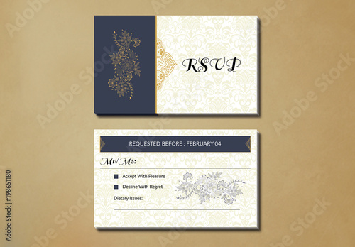 wedding rsvp card layout with yellow ornamental elements buy this