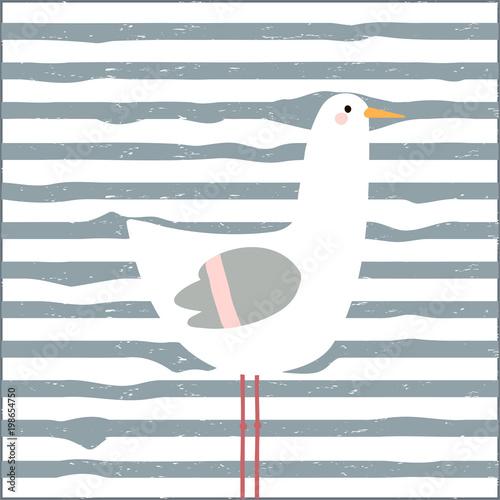 Funny seagull childish print. Vector hand drawn illustration.