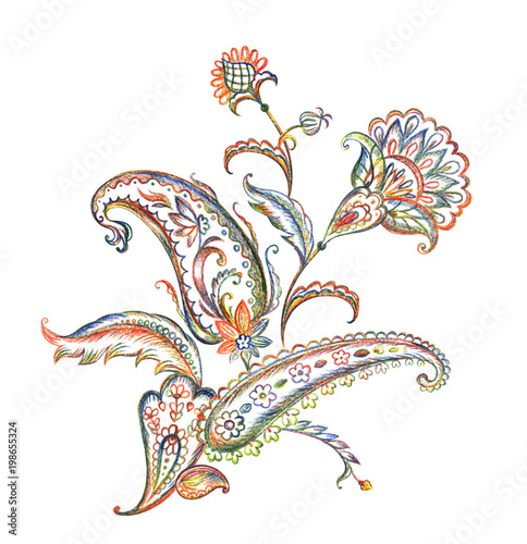 Fototapeta Bouquet of paisley pattern, pencil drawing on white background, isolated with clipping path