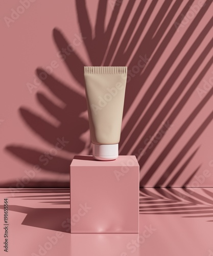 Keuken foto achterwand Spa natural cosmetic cream , serum, skincare blank bottle packaging with leaves herb, wood . bio organic product.beauty and spa concept. 3d illustration