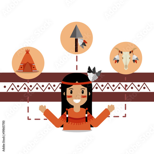 Fotobehang Indiërs native american people and teepee skull and spear vector illustration