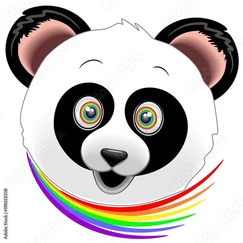 Deurstickers Draw Panda Happy Face Rainbow Eyes