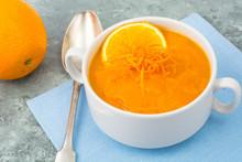 Dietary Pumpkin, Carrot Soup Puree With Orange