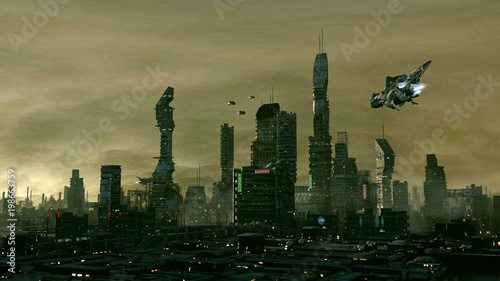 Ville du futur Fototapet