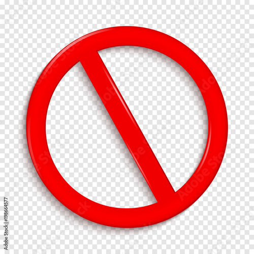 No Sign. Isolated on transparent background. Wall mural