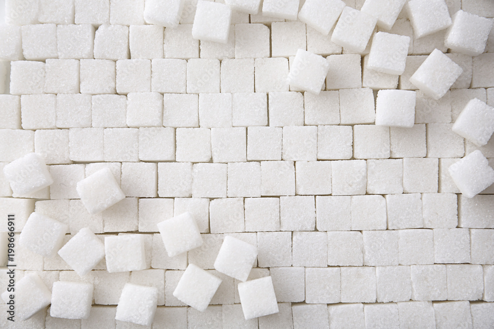 Fototapety, obrazy: Refined sugar cubes as background, top view
