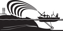Dredging Ship Make Artificial Island - Vector Illustration