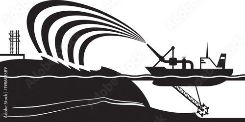 Fényképezés  Dredging ship make artificial island - vector illustration