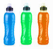 Water colored bottles isolated with clipping path.