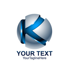 Initial Letter K Logo Template Colored Blue Grey Circle Sphere Design For Business And Company Identity