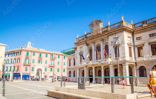 Photo Stands Havana Beautiful street and traditional buildings of Savona, Liguria, Italy
