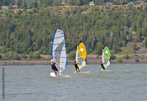 Wind Surfing in Hood River Oregon.