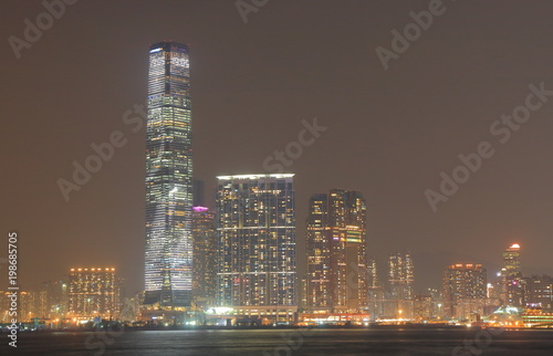 Night cityscape and Victoria harbour Hong Kong Poster