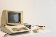 Computer Vintage  On White Desktop