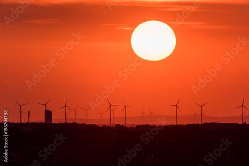 Papiers peints Corail Wind farm of wind turbines