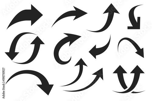 Fotografía  Black silhouette arrows. Flat style icons