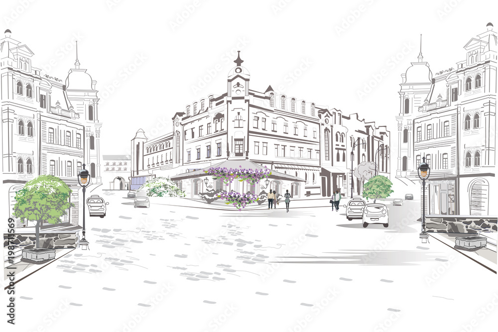 Seria widoków ulicznych na starym mieście. Ręcznie rysowane tło architektoniczne wektor z zabytkowych budynków.