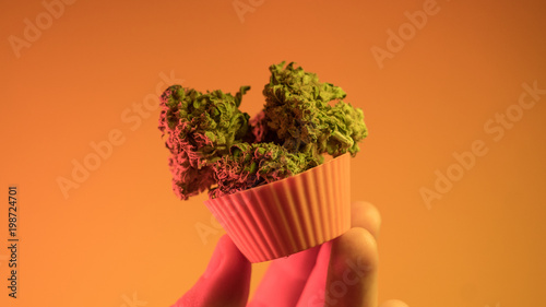 Photo  .baking cupcakes and cookies from medical marijuana close-up