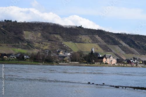 Canvas Prints Camping Blick über den Rhein bei Namedy