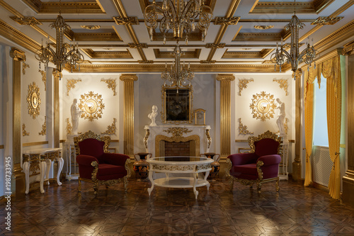Obraz Living room with fireplace in classic style 3d rendering - fototapety do salonu