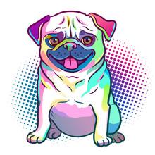 Pug Dog Pop Art Style Illustra...