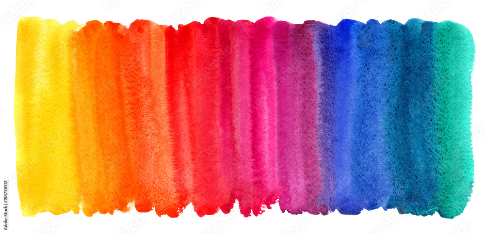 Fototapety, obrazy: Bright colorful watercolor stains background. Multicolored brush stroke isolated on white. Vivid watercolour stripes of different rainbow colors texture. Painted abstract template with uneven edge.
