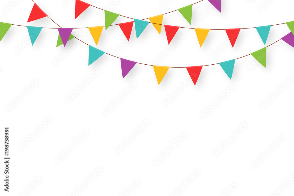Fototapeta Carnival garland with flags. Decorative colorful party pennants for birthday celebration, festival and fair decoration