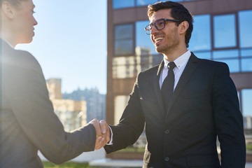 Successful agent or broker greeting his client by handshake after signing contract