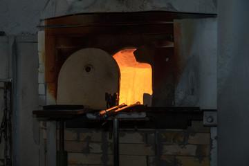 Schmelzofen in der Glasbläserei Köck in Riedlhütte