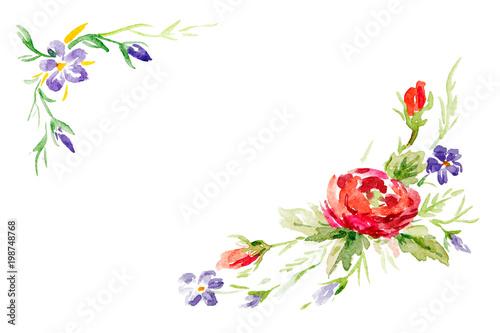Fototapety, obrazy: Floral watercolor set for greeting card design. Corner or frame