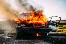 Front Of A Car Burning With A ...
