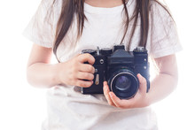 Girl Hands Holding Camera With...